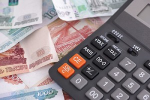 Russian ruble banknotes and calculator