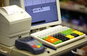 Cash register in shop and credit card register